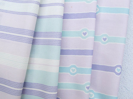 Lavender and Mint Striped Fabric Set