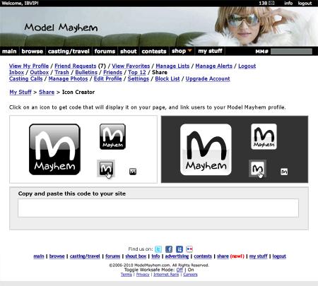 modelmayhem.com Icon Generator page