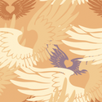 Get Heartwings (Apricot & Lavender) fabric, wall coverings and giftwrap on Spoonflower