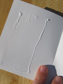 Make concertina book pages: pour the glue