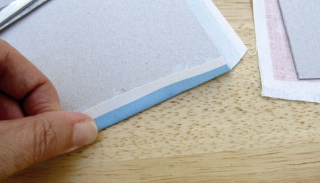 Fabric-covered concertina book: fold edges over