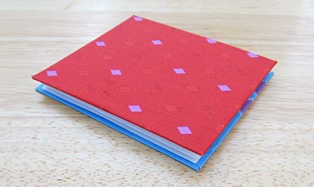 Fabric-covered concertina book: finished, closed view