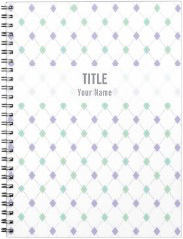 Customizable Project Notebook: Mint & Lilac Argyle