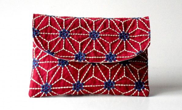 Embroidered pocket flap clutch, by Sacs Sofissima on alittlemarket.com