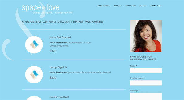 Website design: Space to Love - pricing