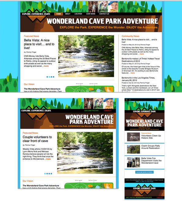 Website redesign: The Wonderland Cave - breakpoints