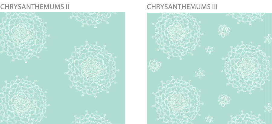Seaglass Chrysanthemums Pattern Variations