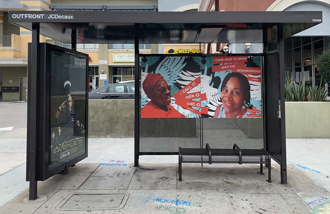 Neighborhood bus shelter art  at Pico and Hauser, Los Angeles
