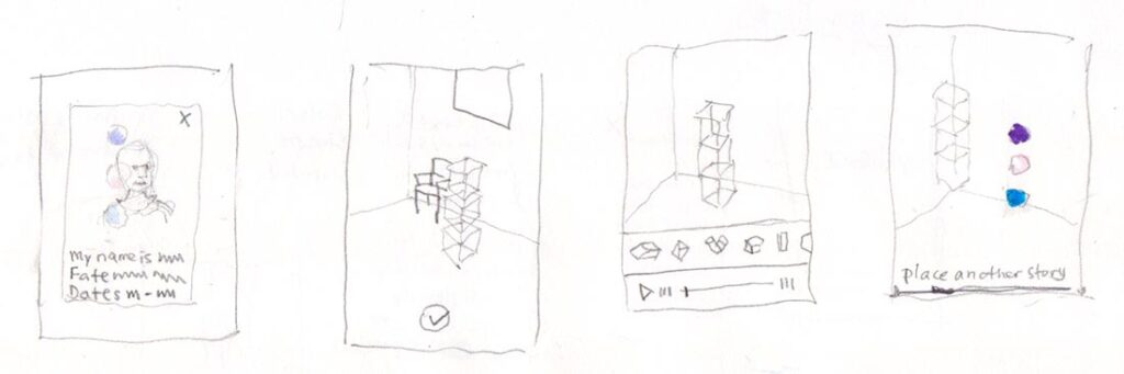 Early sketchbook wireframes for Who Am I? augmented reality app